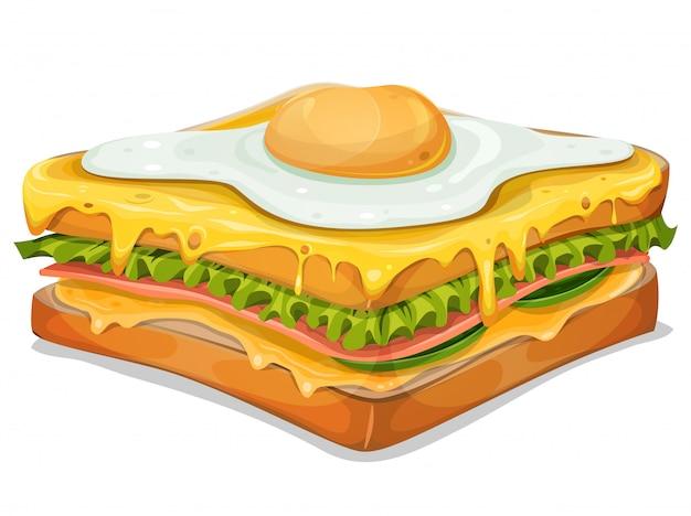 Sandwich français avec œuf frit
