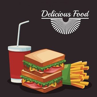 Sandwich et frites et tasse de boisson gazeuse