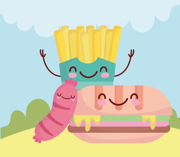 Sandwich saucisse et frites menu menu dessin animé nourriture mignon