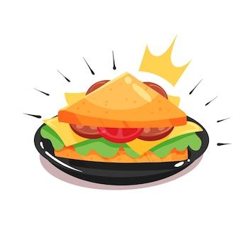 Sandwich triangulaire royal avec illustration d'icône de vecteur de dessin animé long saucisse