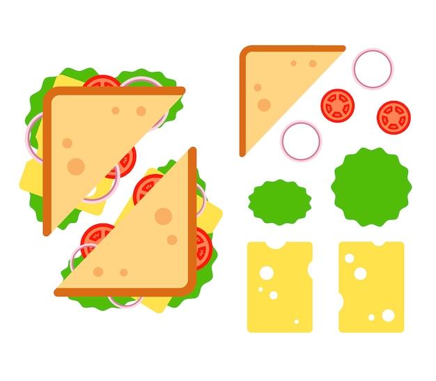 Sandwiche vue de dessus avec tomate, oignon, salade, fromage isolé sur fond blanc, collation pour le petit déjeuner et le déjeuner, illustration plate