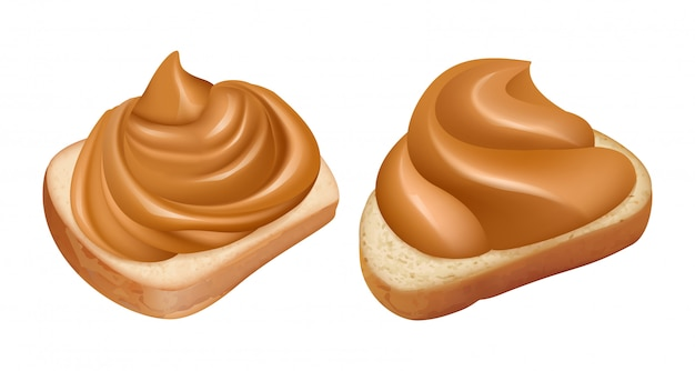 Sandwiches au beurre d'arachide. tourbillon de beurre d'arachide réaliste sur pain