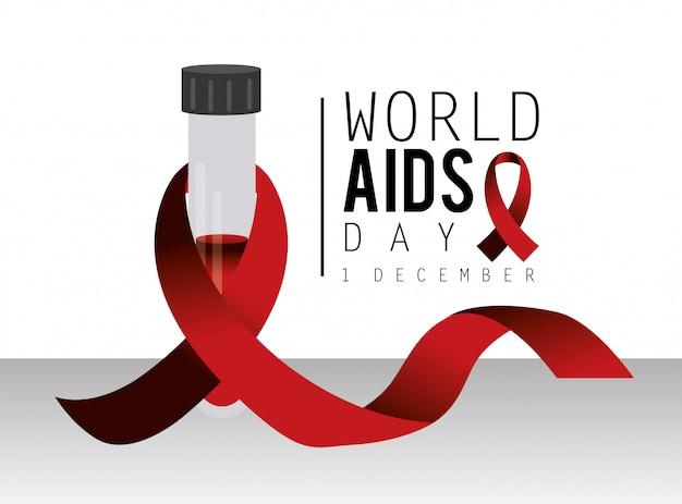 Sang et ruban rouge à la journée mondiale du sida