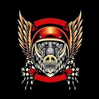 Sanglier moto club mascotte