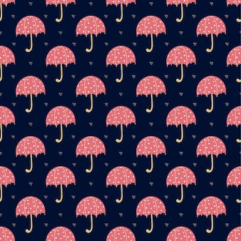 Sans couture avec des parapluies rouges vifs et des coeurs sur une surface bleue. illustration vectorielle