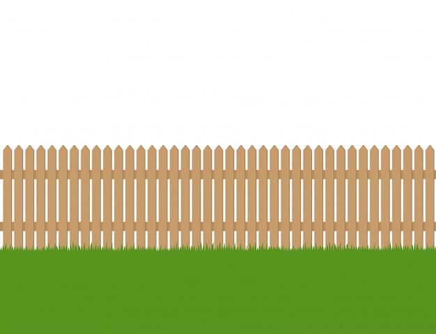 Sans soudure de clôture en bois et d'herbe verte