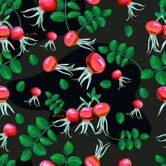 Sans soudure fond floral avec des églantiers.