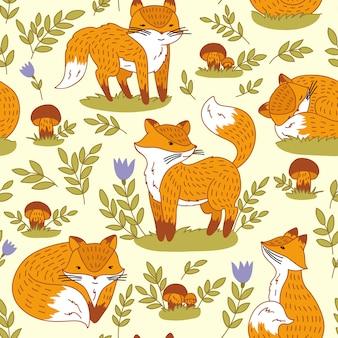 Sans soudure motif abstrait dessiné à la main, fond de renards mignons.