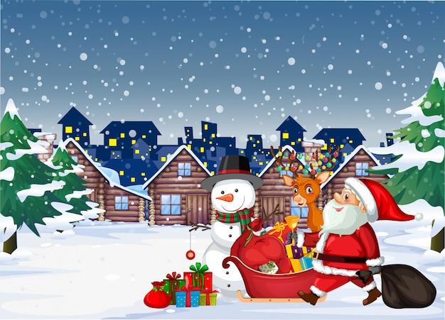 Santa arrivant en ville