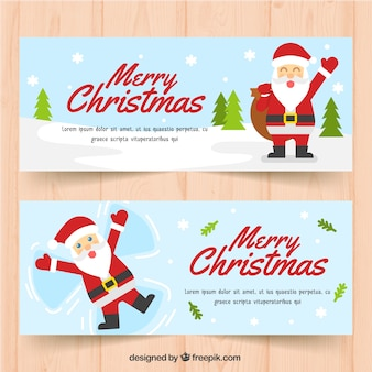 Santa claus bannières pour joyeux noël