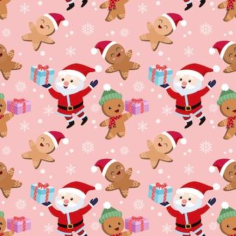 Santa claus et biscuits de pain d'épice tenant le modèle sans couture de cadeau.