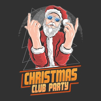 Santa claus christmas night club danse dj party artwork elément vecteur