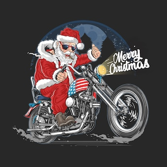 Santa claus christmas usa america touristique motard, moto, cooper illustration