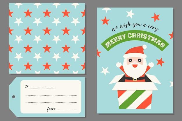 Santa claus dans la boîte actuelle noël carte de voeux avec la transparente motif étoile