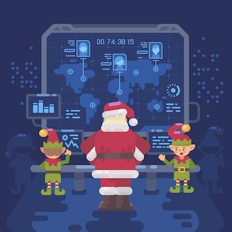 Santa claus et elfes au laboratoire du père noël en regardant une carte