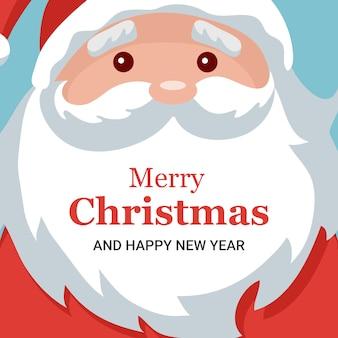 Santa claus face joyeux noël carte