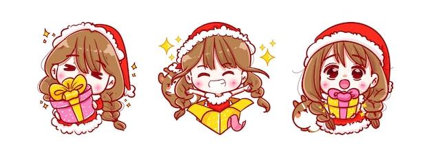 Santa claus holding boîte-cadeau isolé sur joyeux noël