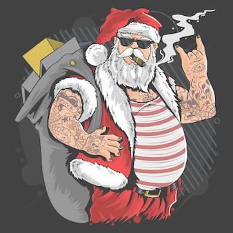 Santa claus joyeux noel tatouage et cigarette illustration vecteur