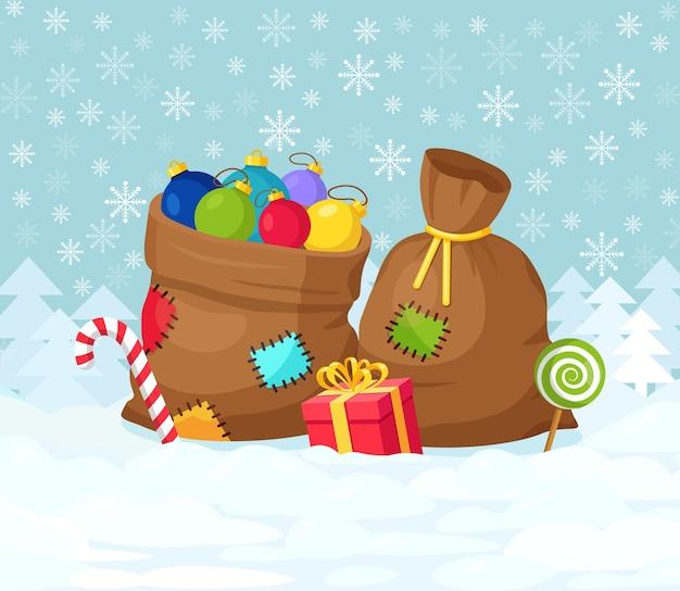 Santa claus sac rouge avec boîte-cadeau isolé. sac de noël plein de cadeaux