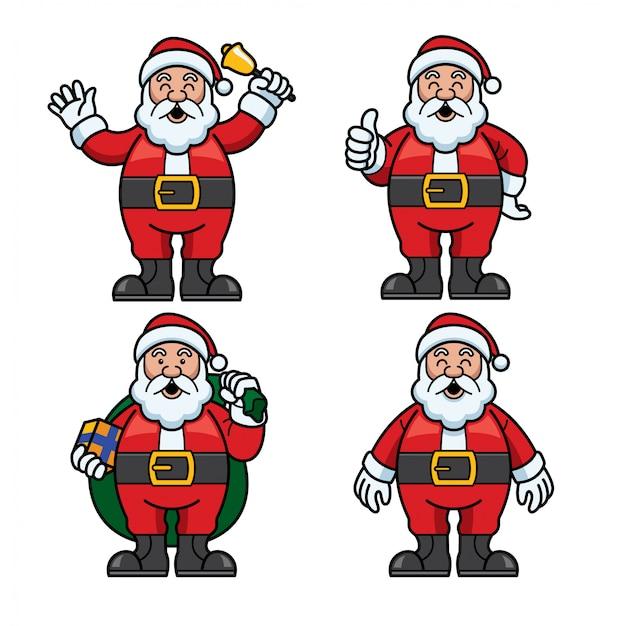 Santa claus set cartoon