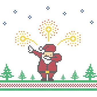 Santa claus, tamponner, feux d'artifice, noël, chandail, tricoté, pixel art vectoriel
