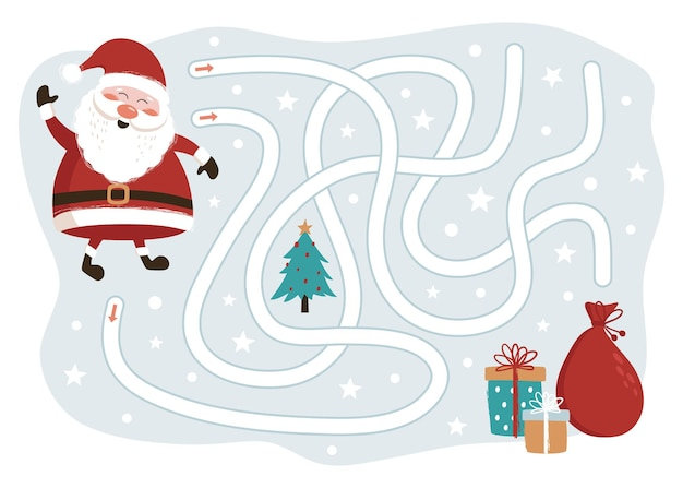 Santa claus way to the gifts game pour les enfants