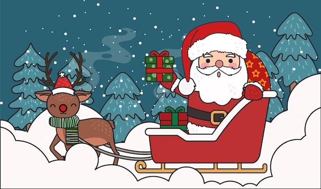 Santa conduisant le chariot actuel avec illustration de renne.
