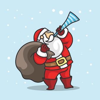 Santa debout jouant de la trompette tenant un sac de cadeaux
