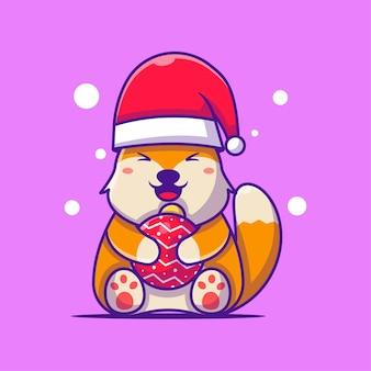 Santa fox avec des illustrations de dessins animés de boules de noël