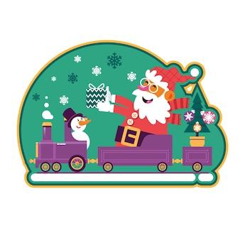 Santa green avec sapin de noel et cadeaux