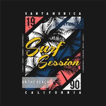 Santa monica california surf session typographie avec coucher de soleil et t-shirt palmier