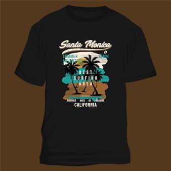 Santa monica californie graphisme paysage typographie t shirt vecteurs été