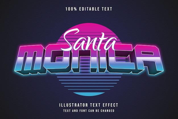 Santa monica, effet de texte modifiable 3d dégradé bleu style de texte néon violet
