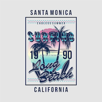Santa monica surf pour illustration de typographie de conception de t-shirt