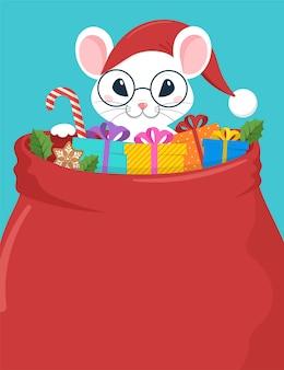 Santa mouse, nouvel an chinois et conception de concept joyeux noël