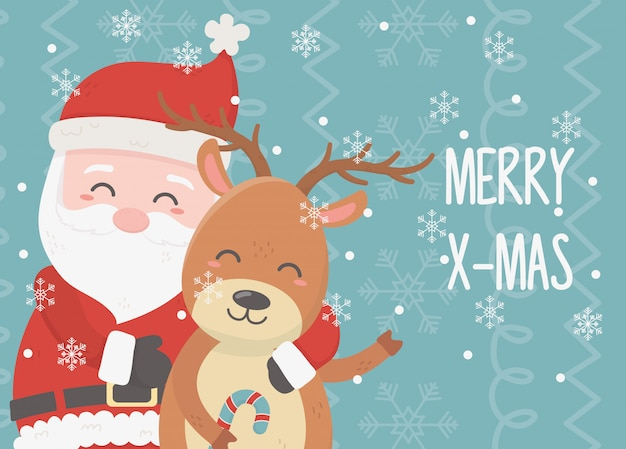 Santa et renne célébration joyeux noël carte