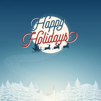 Santa et renne joyeuses fêtes vecteur