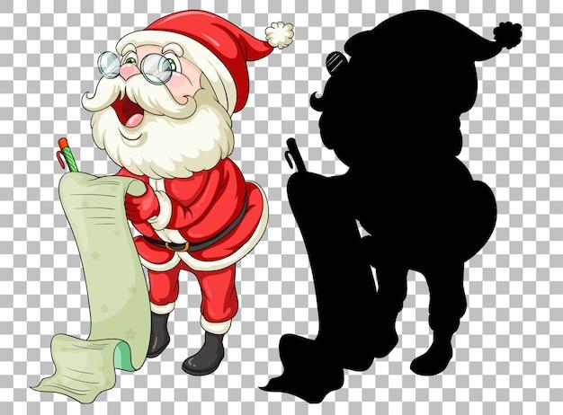 Santa tenant parchemin et sa silhouette