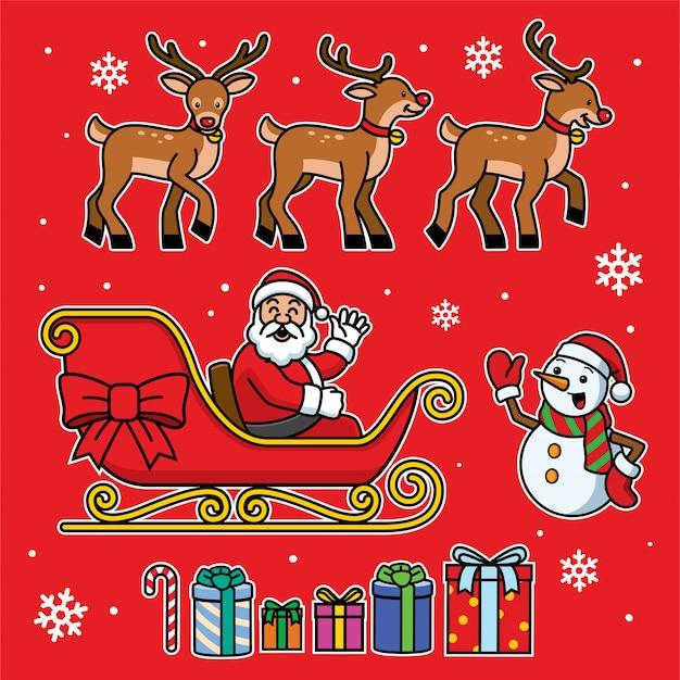 Santa traîneau sertie de style cartoon