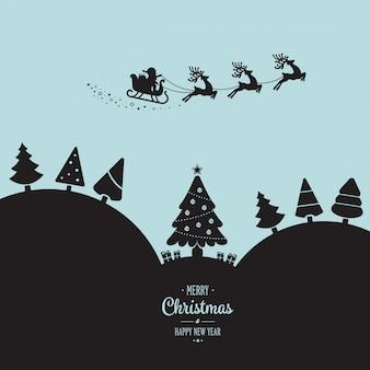 Santa, traîneau, voler, hiver, paysage, nuit