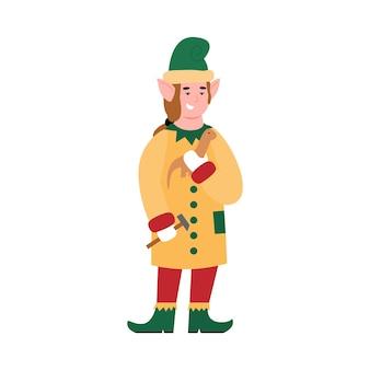 Santas helper elf personnage faisant un jouet plat vector illustration isolé