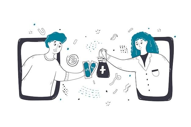 Santé, médecine, illustration de concept drustore en ligne