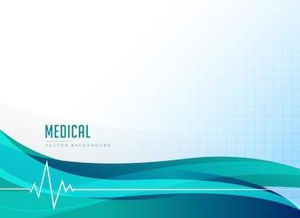 Santé médicale ou fond de pharmacie avec battement de coeur et vague