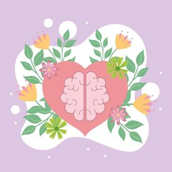 Santé mentale, cerveau dans le dessin animé de coeur
