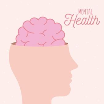 Santé mentale avec cerveau à l'intérieur de la tête de l'esprit et thème humain