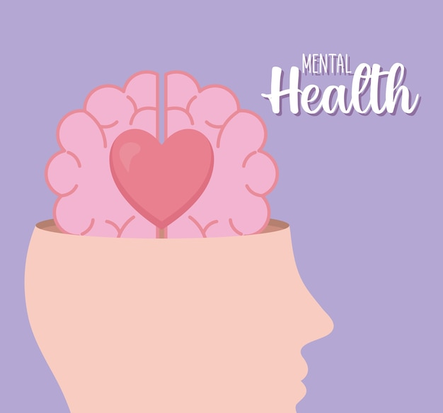 Santé mentale avec l'icône du cerveau et du cœur de l'esprit et du thème humain