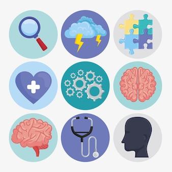 Santé mentale neuf icônes