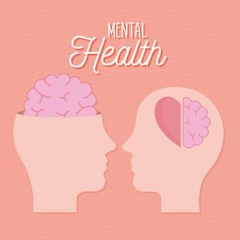 Santé mentale avec tête cerveau et cœur de l'esprit et thème humain