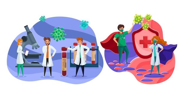 Santé, Soins, Recherche En Laboratoire, Vaccin, Coronavirus, Concept De Médecine. Hommes Femmes Femmes Médecins Infirmières Travailleurs De Laboratoire Protégeant Contre Les Virus Ou Cherchant Un Remède Contre La Maladie. Assainissement Et Premiers Secours. Vecteur Premium