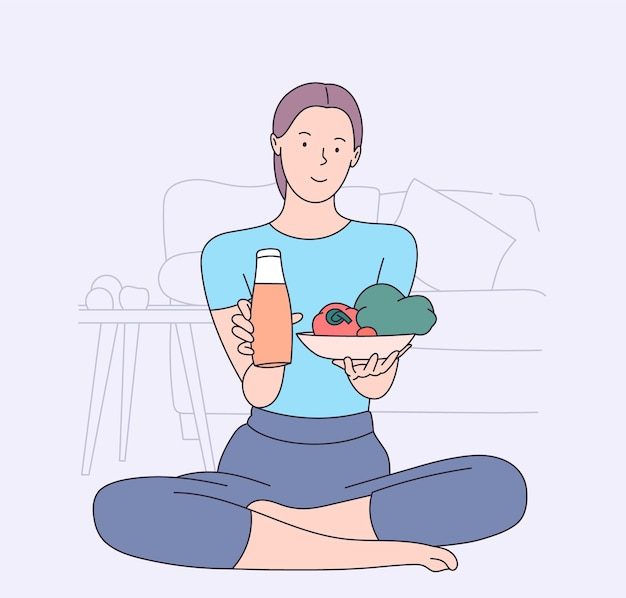 Santé, végétalien, nourriture, concept de cuisine. personnage de dessin animé de jeune femme.